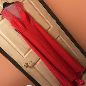 Red gown with lace size 6. NWT